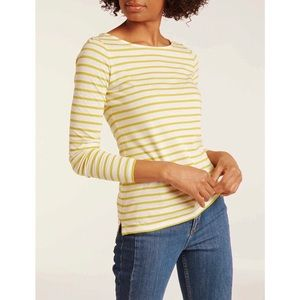 Boden Long Sleeve Yellow Striped Breton Top US 6